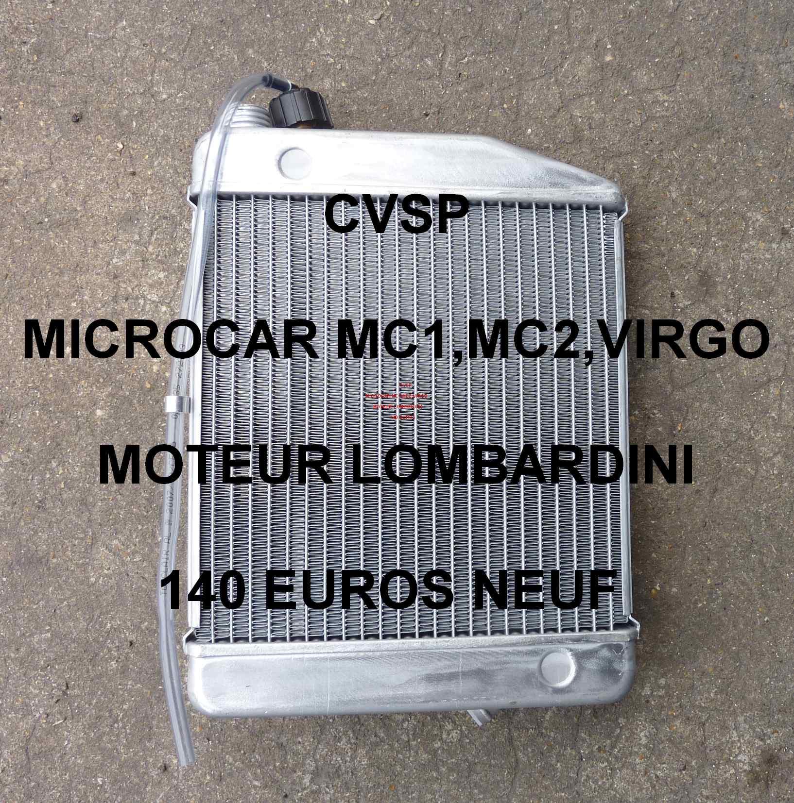 radiateur moteur lombardini neuf pour microcar mc1 mc2 virgo pi ce d tach e voiture sans. Black Bedroom Furniture Sets. Home Design Ideas