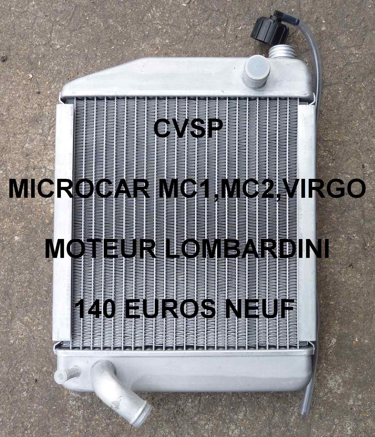 radiateur moteur lombardini neuf microcar mc1 pi ce d tach e voiture sans permis neuf et occasion. Black Bedroom Furniture Sets. Home Design Ideas